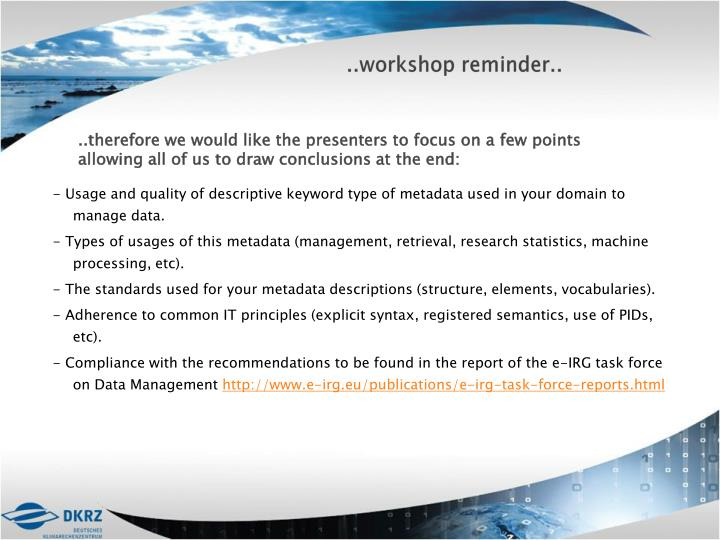 ..workshop reminder..