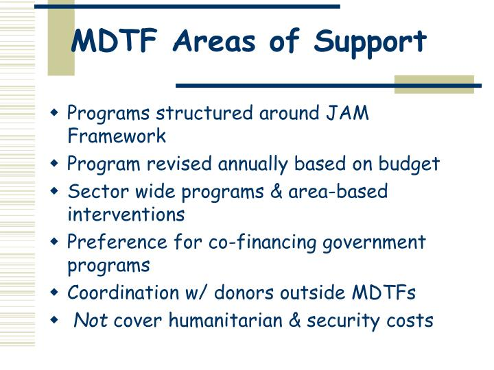 MDTF Areas of Support