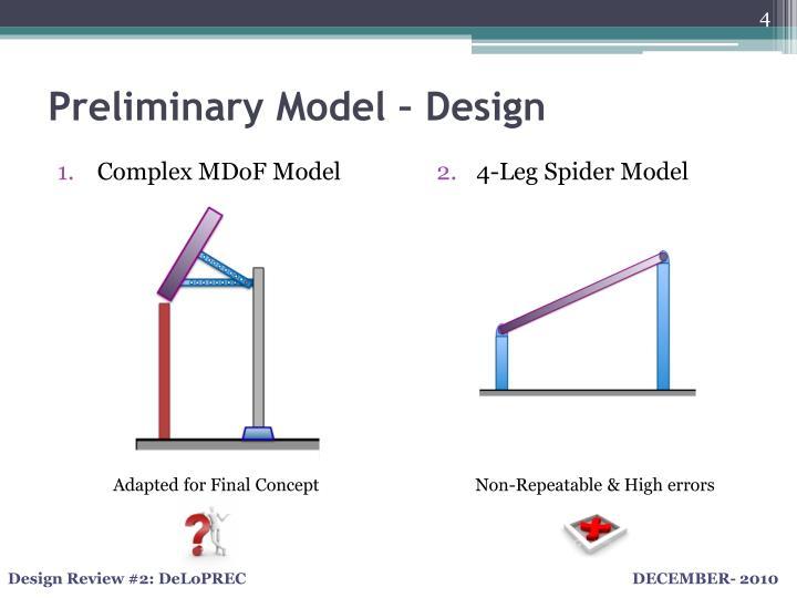Preliminary Model – Design