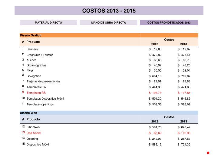 COSTOS 2013 - 2015