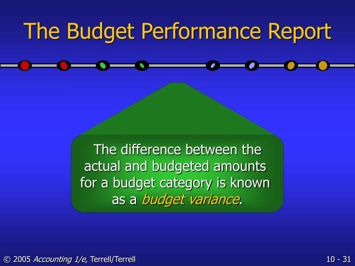 The Budget Performance Report
