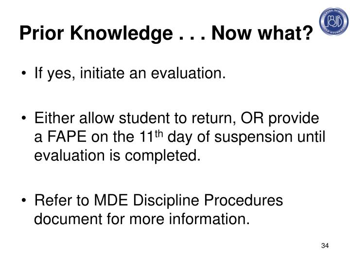 Prior Knowledge . . . Now what?