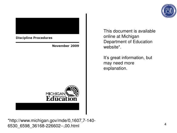 This document is available online at Michigan Department of Education website*.
