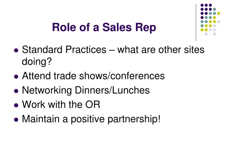 Role of a Sales Rep