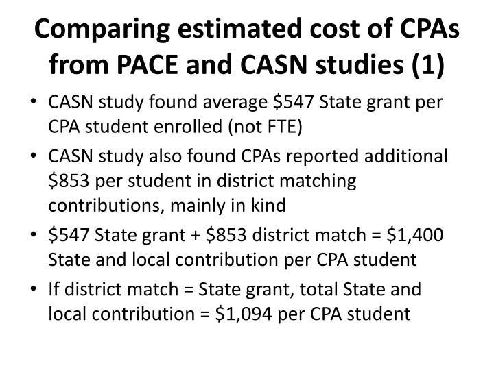 Comparing estimated cost of CPAs from PACE and CASN studies (1)