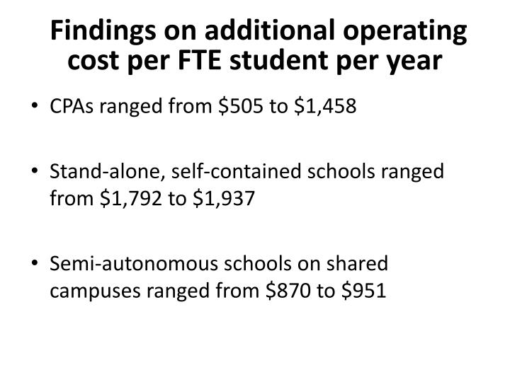 Findings on additional operating cost per FTE student per year