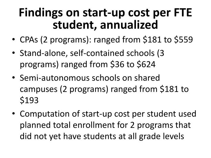 Findings on start-up cost per FTE student, annualized