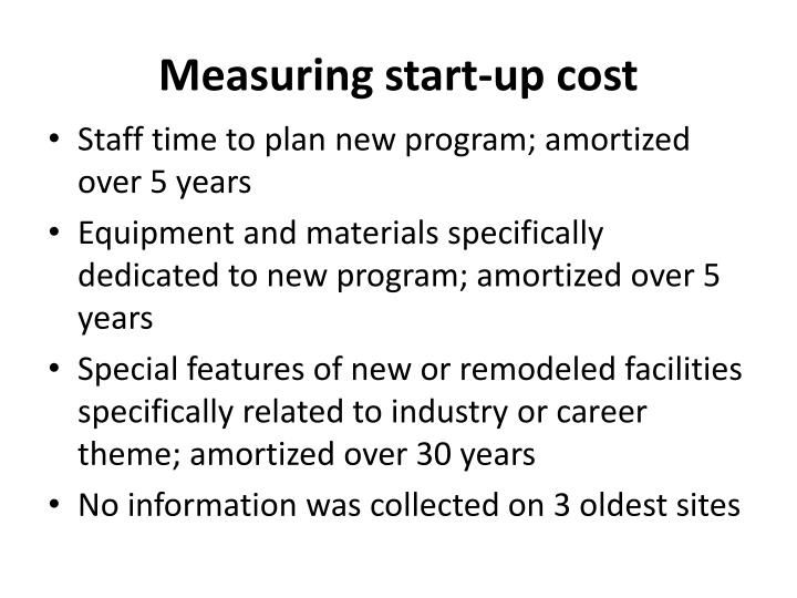Measuring start-up cost