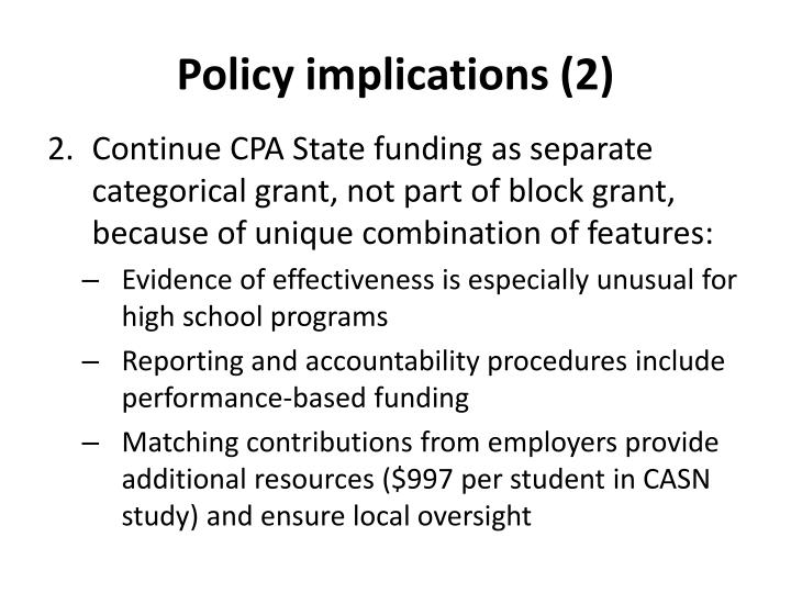 Policy implications (2)