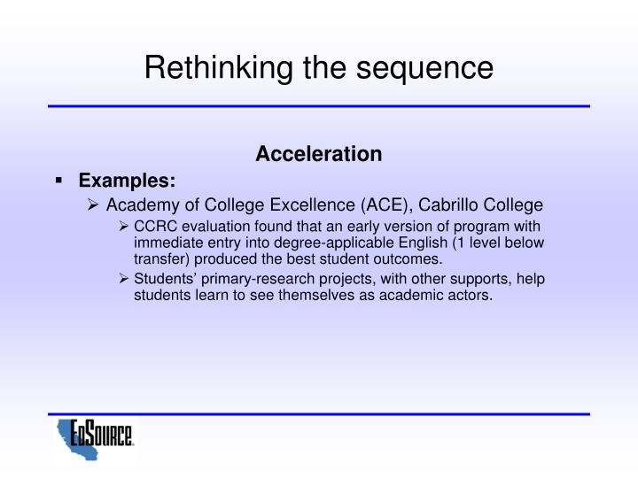 Rethinking the sequence