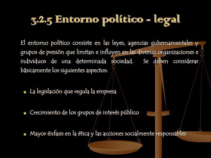 3.2.5 Entorno político - legal