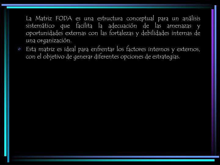 La Matriz FODA es una estructura conceptual para un análisis sistemático que facilita la adecuación de las amenazas y oportunidades externas con las fortalezas y debilidades internas de una organización.