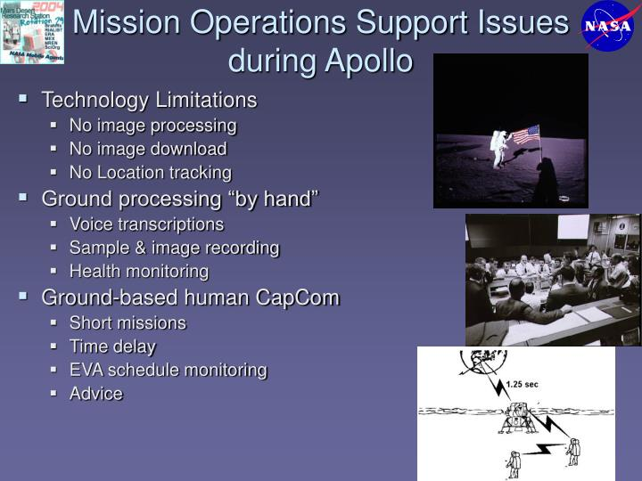 Mission Operations Support Issues during Apollo
