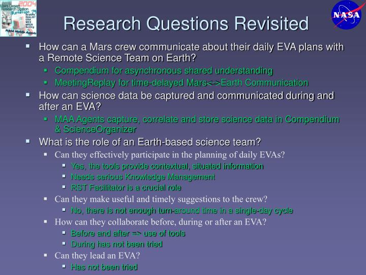 Research Questions Revisited