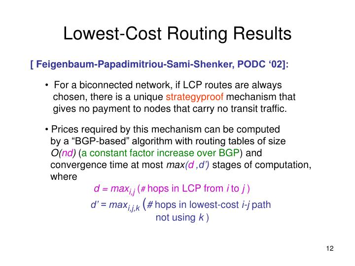Lowest-Cost Routing Results