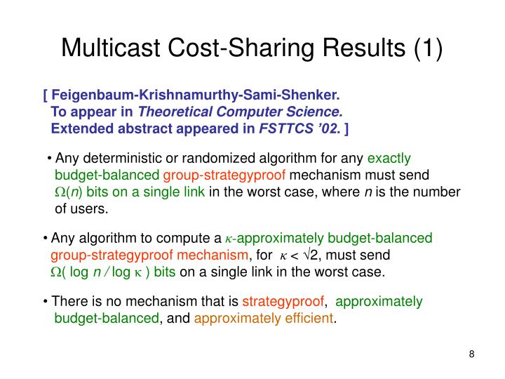 Multicast Cost-Sharing Results (1)