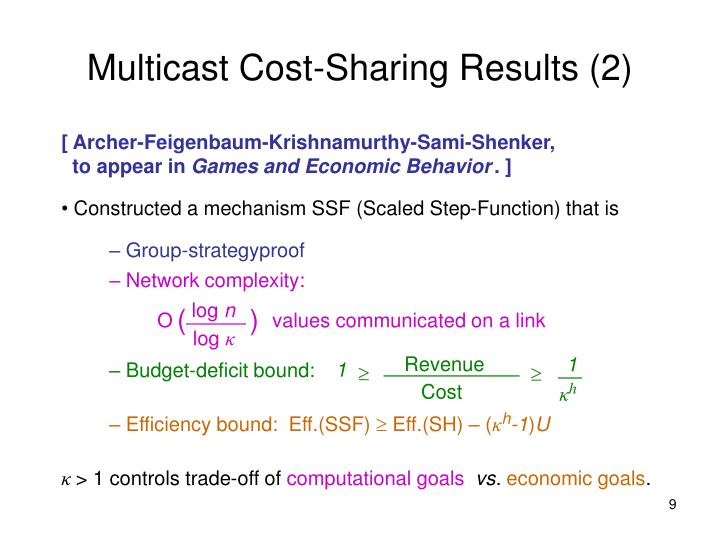 Multicast Cost-Sharing Results (2)