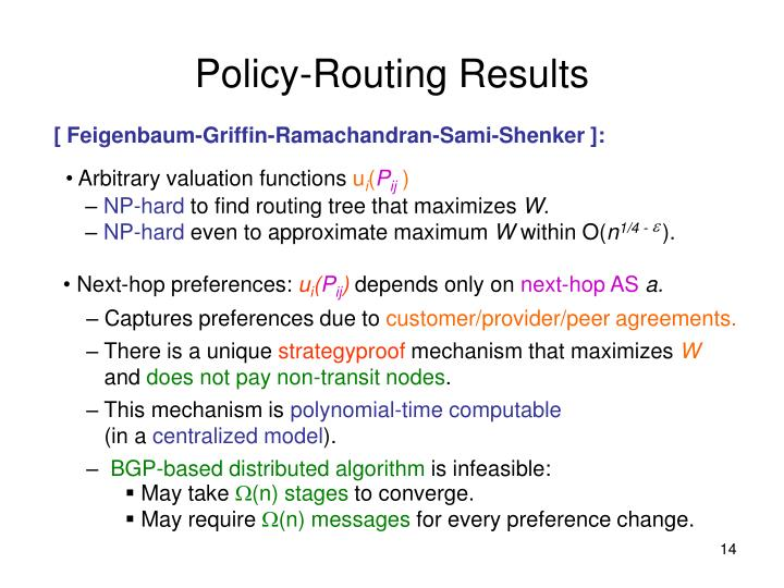 Policy-Routing Results