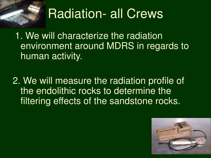 Radiation- all Crews