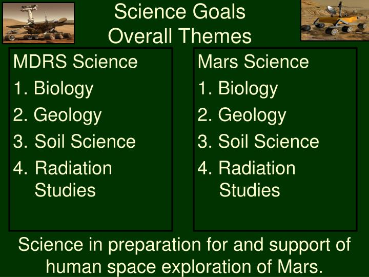 Science goals overall themes