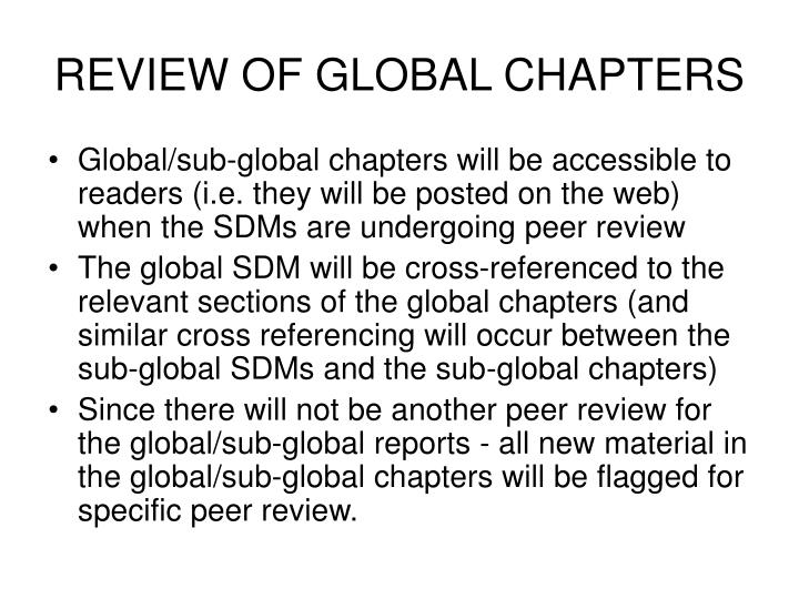 REVIEW OF GLOBAL CHAPTERS