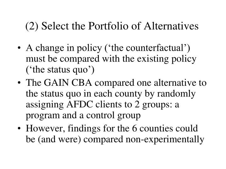 (2) Select the Portfolio of Alternatives