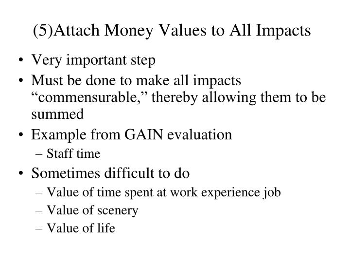 (5)Attach Money Values to All Impacts