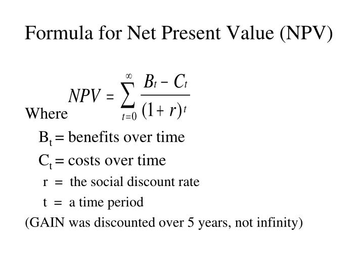 Formula for Net Present Value (NPV)