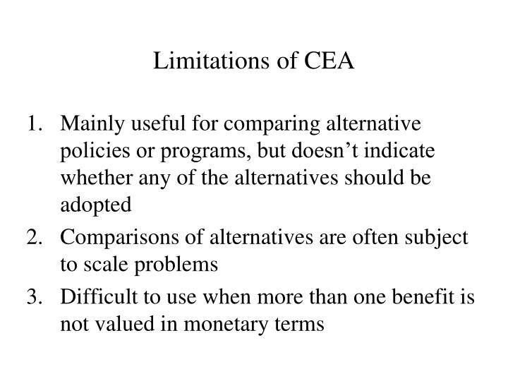 Limitations of CEA