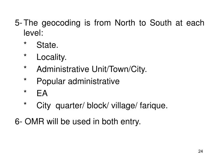 5-The geocoding is from North to South at each level: