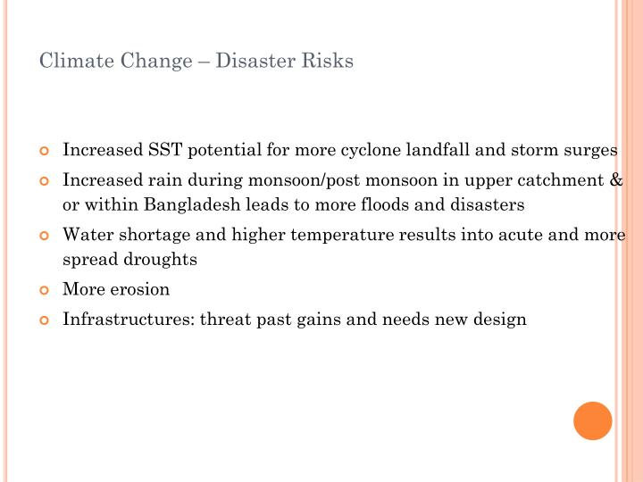 Climate Change – Disaster Risks