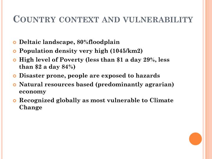 Country context and vulnerability