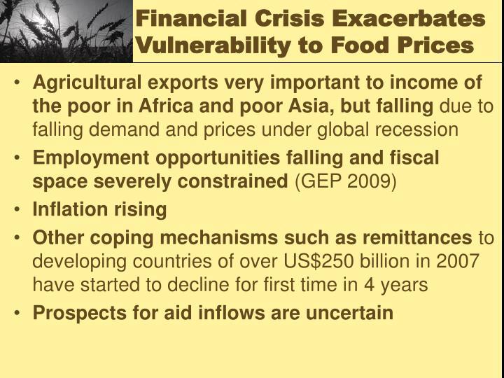 Financial Crisis Exacerbates Vulnerability to Food Prices