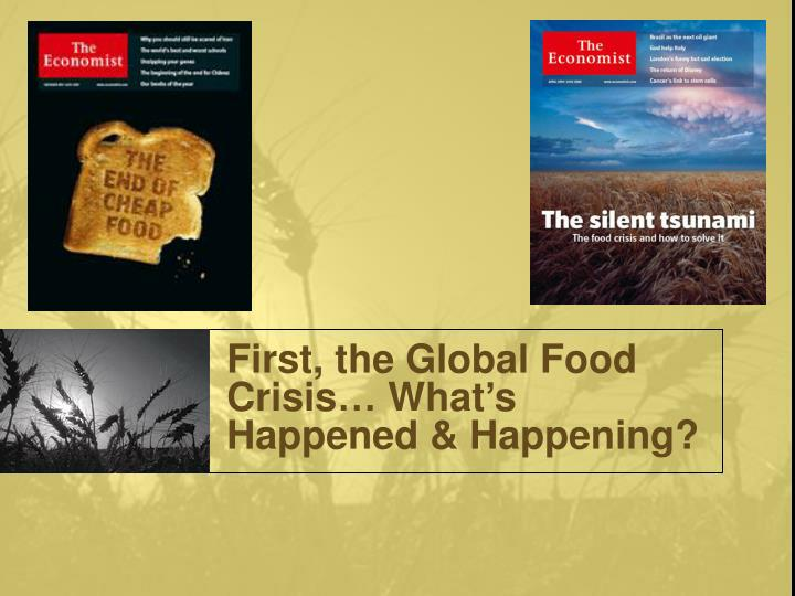 First, the Global Food Crisis… What's Happened & Happening?