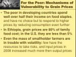 for the poor mechanisms of vulnerability to grain prices