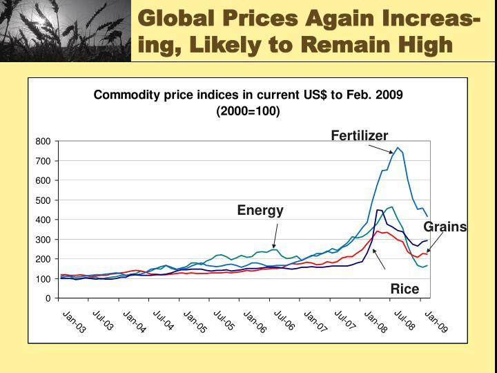 Global Prices Again Increas-ing, Likely to Remain High