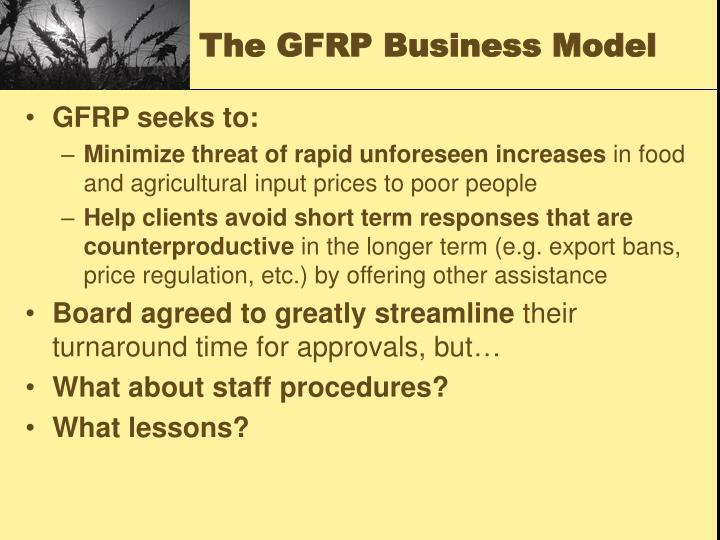 The GFRP Business Model