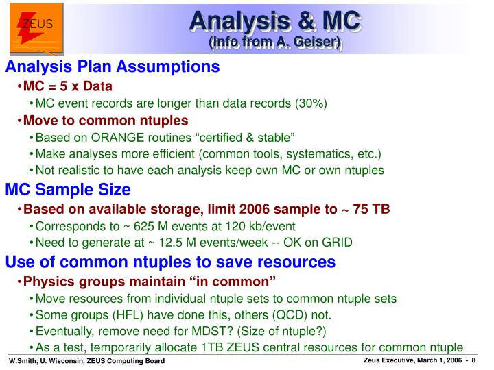 Analysis & MC
