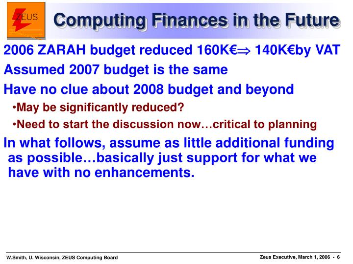Computing Finances in the Future