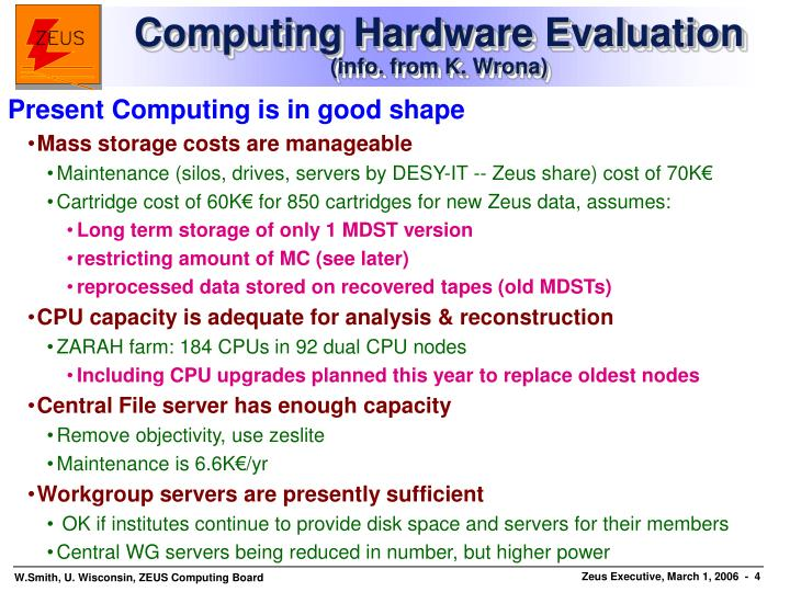 Computing Hardware Evaluation