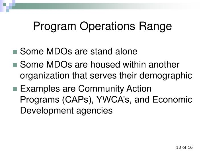 Program Operations Range
