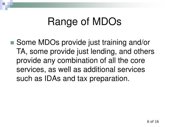 Range of MDOs