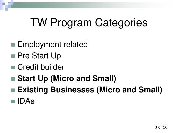 TW Program Categories