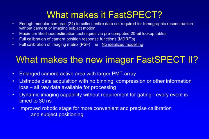 What makes it FastSPECT?