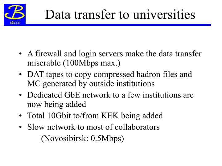 Data transfer to universities