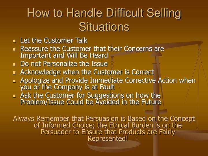 How to Handle Difficult Selling Situations