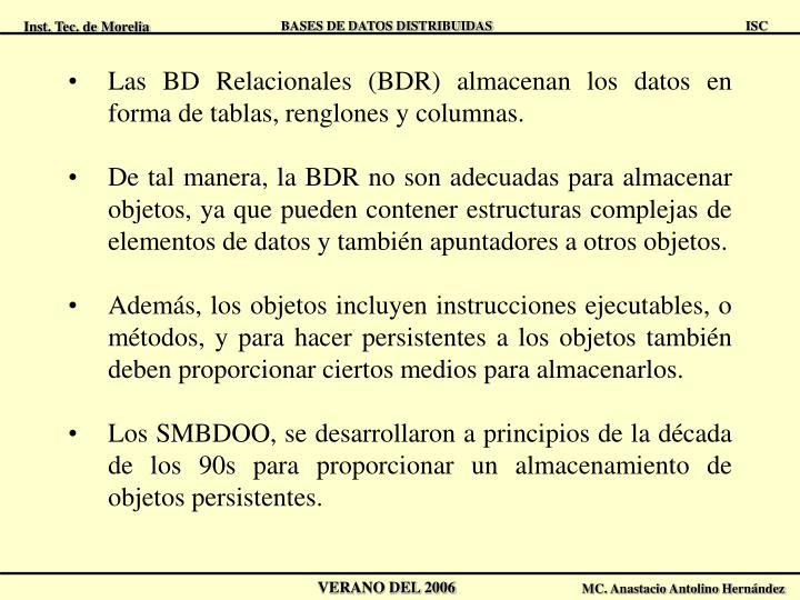 Las BD Relacionales (BDR) almacenan los datos en forma de tablas, renglones y columnas.