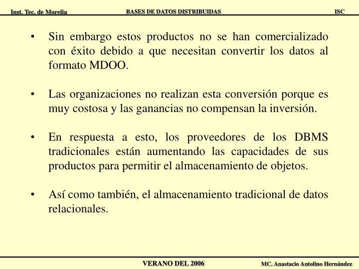 Sin embargo estos productos no se han comercializado con éxito debido a que necesitan convertir los datos al formato MDOO.