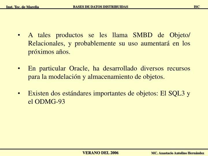 A tales productos se les llama SMBD de Objeto/ Relacionales, y probablemente su uso aumentará en los próximos años.