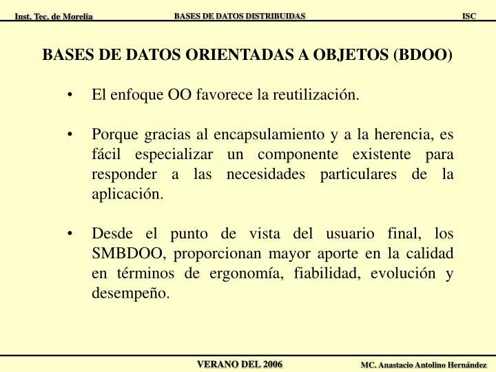 BASES DE DATOS ORIENTADAS A OBJETOS (BDOO)